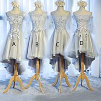 Scoop Boyun Dantel Tül Yüksek Düşük Gelinlik Modelleri Lace Up Parti Elbise Yeni Balo Abiye Kısa Ön Uzun Geri