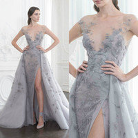 Charming Paolo Sebastian Prom Dress Sheer Bateau Neck Illusi...