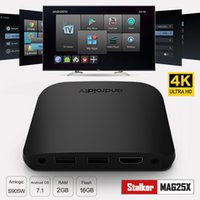 M8S Plus W Android TV Box Amlogic S905W 2 GB 8 GB Android 7.1 Smart Media Player Support Stalker Mag25X 2.4G Wifi IPTV Boîte Avec Boîte De Détail