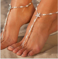 Starfish diamond pearl Fingerless Stretch Anklet bride foot ...