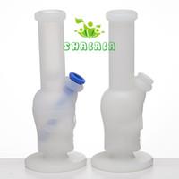 Transparente Schädel-Silikon-Wasserleitung mit Silikon unten 14mm weibliches Rohr unzerbrechliche Gummihuka-Bong-rauchende Pfeifen freies Verschiffen 491-2