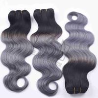 Gris Cuerpo Charmingqueen 1B / onda del pelo humano 3/4 Paquetes Ombre armadura brasileña del cabello humano gris cabello Extensiones Ombre