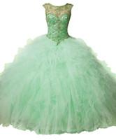Высококачественный Grass Green Long шарика выпускного платья Puff юбки Тюль шею ремень назад Тяжелый ручной работы из бисера Вечерние платья DH033