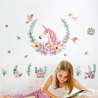 cartone animato unicorno wall sticker baby girl room decor bambini camera da letto autoadesivo carta da parati casa moderna poster