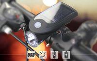 USB солнечная зарядка велосипед свет 3 Вт светодиодные лампы 1000 мАч литиевая батарея 360 вращающийся держатель лампы 0188
