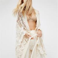 보헤미안 대형 여성용 폭발 여름 방학 코트 풀 슬리브 긴 레이스 가디건 기모노 썬 프로텍션 의류