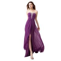 el envío libre 2020 Nuevo sujetador púrpura elegante formal vestidos de noche de dama de honor vestidos de baile Halter Cola Slits HY024
