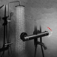 Luxury black thermostatic shower set faucet hot and cold bla...