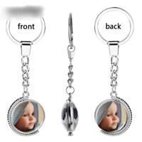 Kişiselleştirilmiş Dönebilen Çift taraflı Fotoğraf Anahtarlık Aile Üyesi / Adınız / Moda Logo / Lover Çift Anahtarlık Özel Hediye