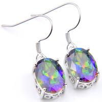 e9de9964a Wholesale mystic topaz earrings for sale - 10Prs Luckyshine Classic  Dazzling Fire Oval Rainbow Mystic Topaz