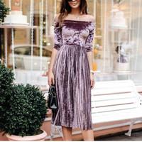 Sexy Slash Шея Бархатное плиссированное платье Женщины с половиной рукавов Тонкий платье 2018 Весна Осень Новый Элегантный Solid Vestidos Женский