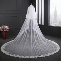 الصورة الحقيقية فائقة واسعة 3 متر طويل الحجاب الزفاف 2018 جديد الدانتيل veu دي noiva لونغو أبيض / العاج رخيصة في المخزون الزفاف الحجاب