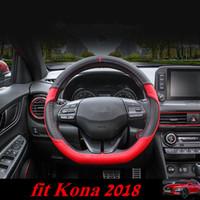 Hyundai Kona 2018 için Araba Direksiyon Kapağı Direksiyon Kapakları Kona Yeni için Yumuşak PU Tasarım Iç Kitleri