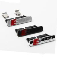 3D Metal S Line Sticker Pegatina De Coche Rejilla Delantera Adhesiva Adhesiva Emblema Insignia Accesorios Estilo para Audi A1 A3 A4 B8 B5 A5 A6