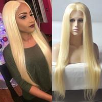 150 Densidade brasileira Mel loira de cabelo humano rendas frente Wigs Cor 613 # reto grosso Glueless cabelo cheio humano laço perucas com o cabelo do bebê