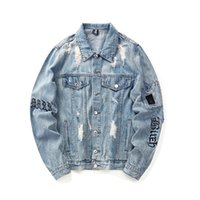 Mens Fashion Ripped Denim Jacket Coat Letter Print High Stre...
