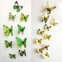 1200 шт. / лот ПВХ 3D бабочка стены наклейки наклейки Home Decor плакат для детей номера клей для украшения стены Adesivo де Parede