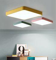 Sala de estar nórdica Lámpara de techo Ultra-delgada rectangular 5 cm de espesor Macaron Room Color Creativo Color Cálido Aisle Simple Dormitorio Luz