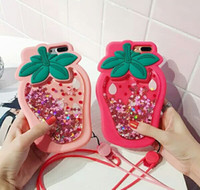 Strawberry Liquid Quicksand Glitter Case trasparente per Apple iPhone 6 6 Plus 7 7 Plus 8 8 Plus