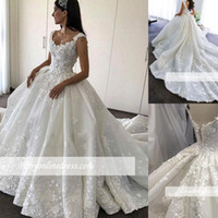 2018 3D- Floral Appliques Ball Gown Wedding Dresses with Stra...