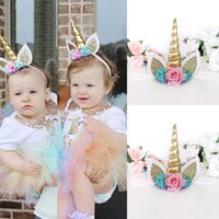 Wholesale 1PC Magical Gold Unicorn Horn Head Party Kid Headb...