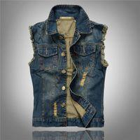Commercio all'ingrosso- 2016 Vendite calde Ripped Jean Jacket Mens Denim Vest Plus Size M - 6xl Jeans Gilet Giaccio da uomo Cowboy Marca Giacca senza maniche