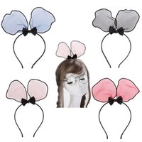Cute Chiffon Rabbit Ears Hair Bow kont Girls Hairbands Kids ...