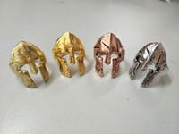 4 اللون المتقشف بطل خوذة قناع خواتم للرجال الشرير السائق مجوهرات العتيقة التايلاندية الفضة روك سبارتا حلقة حزب هدية