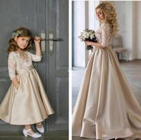 Champagne Flower Girls Dresses For Weddings 3/4 Maniche lunghe in pizzo con caviglia in raso Ragazze Abiti da spettacolo Abiti da festa per bambina
