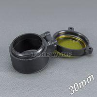 30mm Copertura per torcia Portata per mirino Copriobiettivo Copriobiettivo Diametro interno 30 mm Caccia al vetro giallo trasparente