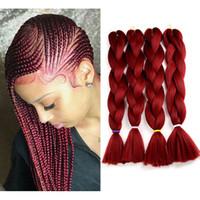 Jumbo trenzas Colores #burgundy vino rojo kanekalon ganchillo trenzado extensiones de cabello 80 g / pieza doblada 24 pulgadas Kanekalon trenzando pelo