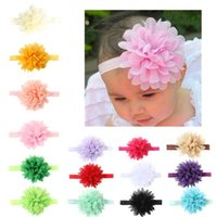 Baby headbands Kids Infant colorful fabric flowers Hair Acce...