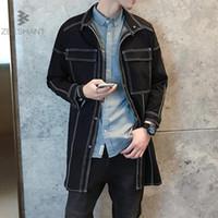 ZEESHANT Yeni Uzun Denim Jeans Trençkot Erkekler Kış Trençkot Sonbahar Kış Ceket erkek Casual Palto M-5XL Ceket