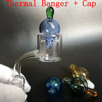 Set XXL Quartz Thermal Banger + Más nuevo cap carb 10mm 14m 18mm Double Tube Quartz Thermal Banger Nail 45 90 Degree