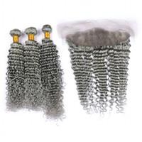 Grey 8A peruana Virgin Cabelo Sliver cinza onda profunda cabelo encaracolado Weave ondulado Com 13 * 4 Lace frontal Encerramento Unprocess Humanos Pacotes de cabelo