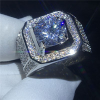 Handsome solitaire male ring 10mm Diamond Cz 925 Sterling si...