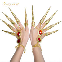 Einzel- und Großhandel Bauchtanz Zubehör Tanz Schmuck pavaner Finger Hand Ring Armband fm2252