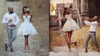 Short Wedding Dress Knee Length Applique Informal Wedding Br...