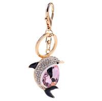 Nuova moda carino cristallo dolphin portachiavi squisita strass dolphin auto portachiavi femminile borse accessori ciondolo