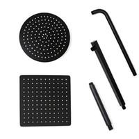 Schwarzer runder und quadratischer Regenschauer-Kopf ultradünne 2 Millimeter 8 10 12 Zoll-Wahl Badezimmer-Wand-Deckenmontierter Duscharm