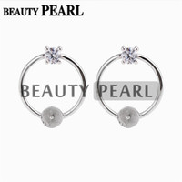 5 Pairs Circle Earring Pearl Mountings 925 Sterling Silver S...