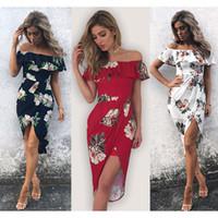 54f59b36033c5 Kadın Boho Elbise Kapalı Omuz Parti Plaj Düzensiz Elbiseler Sundress zarif  kısa elbise vestidos 2019 Yaz