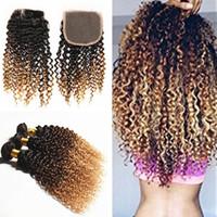Ombre Brown Rubio cabello humano 3 paquetes con cierre de encaje 1B 4 27 rizado cabello rizado teje con cierre de encaje
