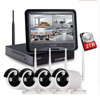 1080P Kit de NVR sem fio 10 polegadas Monitor LCD 2MP WiFi IP Câmera 4 pcs P2P CCTV Câmera Vídeo Vídeo Security System Servilance Set LLFA
