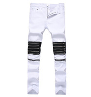 Men White Red Punk Hip Hop Jeans With Multi Zippers Mens Hig...