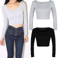 HQ 2017 Autumn New Fashion Long Sleeve Cropped Tops Basic Ca...