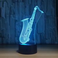 2018 Novo LED Night Light saxofone USB Lamp 3D 7 cores do sensor de toque 3D Quarto Acende Atmosfera Decoração do presente