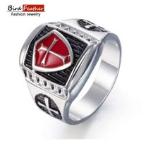 Silver color Zinc Alloy Men Ring Cross Red glaze Hip Hop Rin...