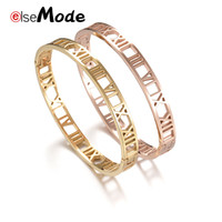 ELSEMODE Trendy Simple Hollow Roman Numbers Bangles for Wome...