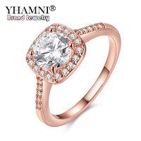 YHAMNI Original Fashion Echt Rose Gold Ringe Für Frauen 1ct 6mm Top Qualität Rose Gold Ring Schmuck AR035